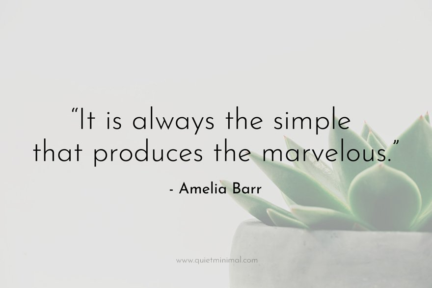 """""""It is always the simple that produces the marvelous."""" - Amelia Barr"""