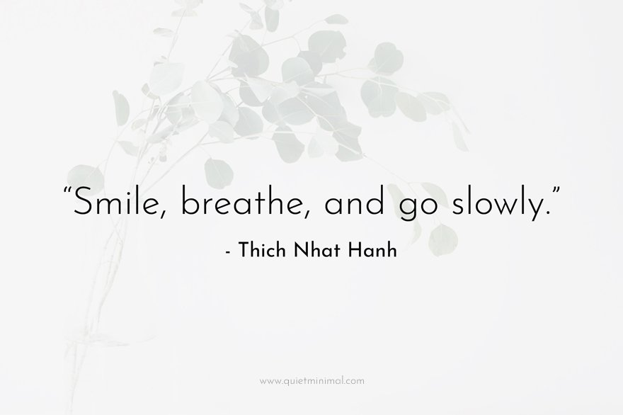"""""""Smile, breathe, and go slowly."""" -Thich Nhat Hanh"""